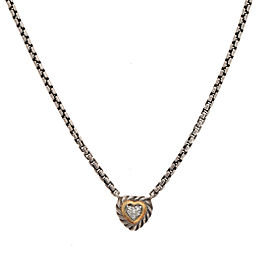 David Yurman 925 Sterling Silver 18K Yellow Gold 0.11ctw Diamond Heart Pendant Necklace