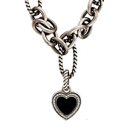 David Yurman 925 Sterling Silver Bracelet Onyx 0.20ctw Diamond Heart Charm Bracelet