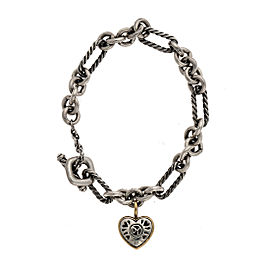 David Yurman 925 Sterling Silver 18K Yellow Gold Heart Charm Bracelet
