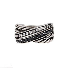 David Yurman 925 Sterling Silver Crossover 0.40ctw Diamond Ring Size 7