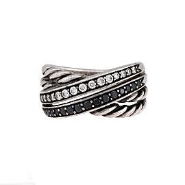 David Yurman 925 Sterling Silver Crossover 0.40ctw Diamond Ring Size 7