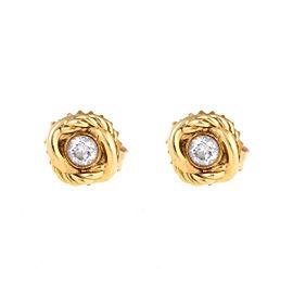 David Yurman 18K Yellow Gold Infinity 0.12ct. Diamond Stud Earrings
