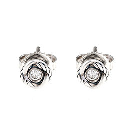 David Yurman Sterling Silver Infintiy 0.13ct. Diamond Stud Earrings