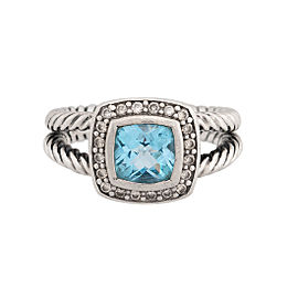 David Yurman Petite Albion Blue Topaz and Diamonds Ring Size 6.5