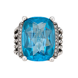 David Yurman Wheaton Sterling Silver with Blue Topaz and 0.23ct Diamond Ring Size 7