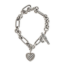 "David Yurman 925 Sterling Silver & 18K White Gold Diamond Heart ""Figaro"" Bracelet"
