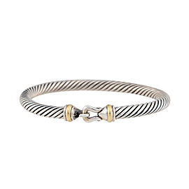 David Yurman 925 Sterling Silver & 14K Yellow Gold Cable Buckle Bracelet