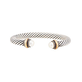 David Yurman 14k Yellow Gold Sterling Silver Cultured Pearl Cable Classic Bracelet