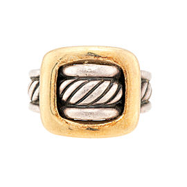 David Yurman Sterling Silver 18K Yellow Gold Buckle Ring Size 6.75