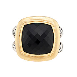 David Yurman Sterling Silver 18K Yellow Gold Onyx Albion Ring Size 5.75
