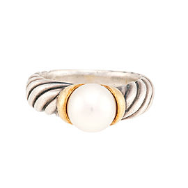 David Yurrman Sterling Silver Cultured Pearl Cable Ring Size 5.75
