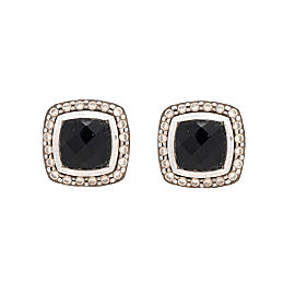 David Yurman Sterling Silver 18k Yellow Gold Onyx Diamonds Albion Earrings