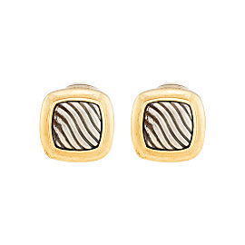 David Yurman Sterling Silver and 18k Yellow Gold Earrings