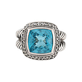 David Yurman 925 Sterling Silver Blue Topaz Diamond Ring Size 7.5