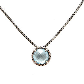 David Yurman 925 Sterling Silver Blue Topaz Chatelaine Necklace