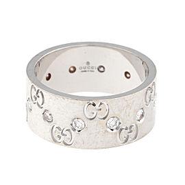 Gucci 18K White Gold Icon 0.50ct. Diamond Ring Size 8.5