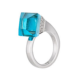 Gucci 18K White Gold Blue Topaz and Diamond Chido Ring Size 7