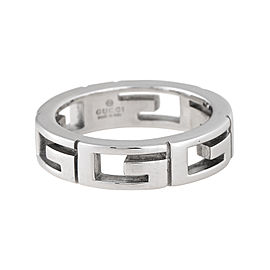 Gucci 18K White Gold G Band Ring Size 4.25