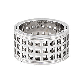 Gucci 18K White Gold Spinning Cutout Ring Size 6