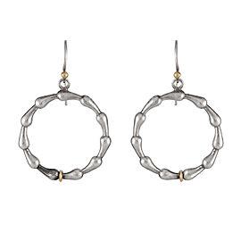 Gurhan Sterling Silver and 22K Yellow Gold Splash Hoop Drop Earrings