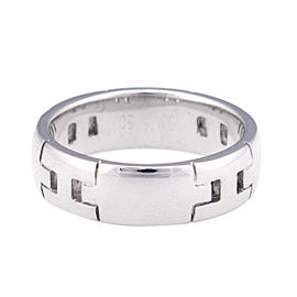 Hermes 18K White Gold H Logo Ring Size 5.5