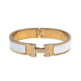 Hermes Gold Tone White Clic Clac Bracelet