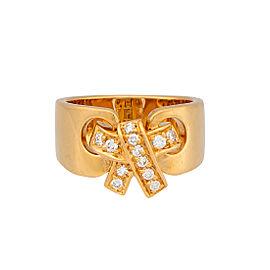 Vintage Hermes 18K Yellow Gold 0.15ctw Diamond Bow Ring Size 5