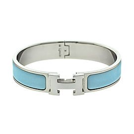 Hermes Powder Blue Enemal H Clic Clac Bracelet