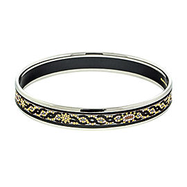Hermes Printed Enemal Black Wave Cuff