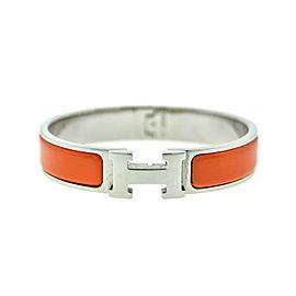 Hermes H Orange Enamel Clic Clac Bracelet