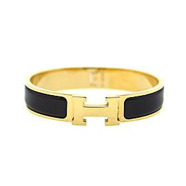 Hermes H Black Enamel Clic Clac Gold Tone Bracelet