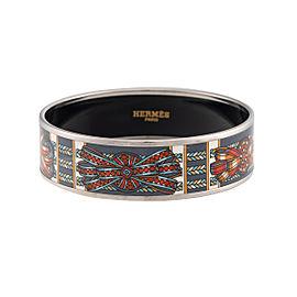 Hermes Palladium and Enamel Ribbon Print Wide Bracelet