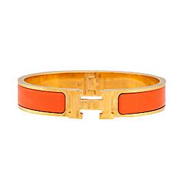 Hermes Orange Palladium Sterling Silver Clic Clac Bracelet