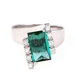 H. Stern 18K White Gold Green Tourmaline and 0.15ct. Diamond Ring Size 7