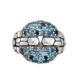 John Hardy Sterling Silver Metallic Kali Lagoon Blue Topaz and Iolite Squarelink Ring Size 7.25