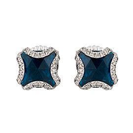 John Hardy Sterling Silver Batu Classic Chain London Blue Topaz Diamond Earrings