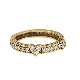 Judith Ripka 18K Yellow Gold with 0.74ct. Two Diamond Gothics Stacking Band Ring 6
