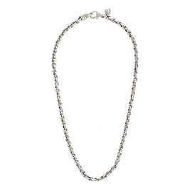 Judith Ripka 18K White Gold 0.08ctw. Diamonds Textured Link Necklace