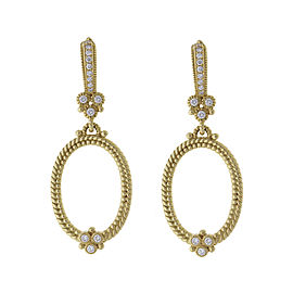 Judith Ripka 18k Yellow Gold 0.35 Ct Diamond Rope Hoop Earrings