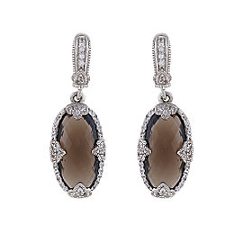Judith Ripka Sterling Silver Smoky Quartz and White Sapphire Drop Earrings