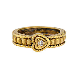 Judith Ripka 18K Yellow Gold with Diamond Heart Ring Size 5.5