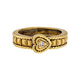 Judith Ripka 18K Yellow Gold with Diamond Heart Ring Size 5.5