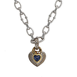 Judith Ripka 18K Yellow Gold 925 Sterling SIlver Iolite 0.03ctw Diamond Heart Pendant Necklace