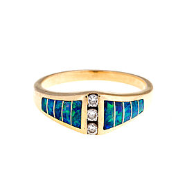 Kabana 14K Yellow Gold Opal and 0.12 Ct Diamond Ring Size 7