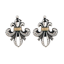 Lagos Sterling Silver 18K Yellow Gold Fleur de Lis Earrings