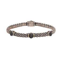 Lagos 925 Sterling Silver 18K Yellow Gold 0.20ctw Black Diamond Bracelet