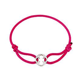 Louis Vuitton Pink Silk Cord Empreinte 18K White Gold Charm Bracelet
