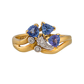 Le Vian 18K Yellow Gold Tanzanite and Diamond Ring Size 5