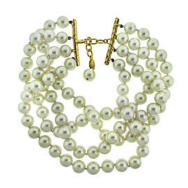 Chanel Simulated Glass Pearl Choker Necklace