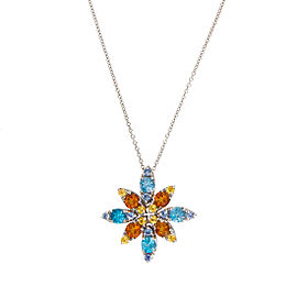 Pasquale Bruni 18K White Gold Blue Topaz and Citrine Pendant Necklace